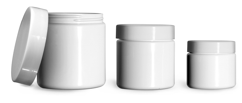8 oz  Plastic Jars, White PET (PCR) Straight Sided Jars w/ Smooth White PE Lined Caps