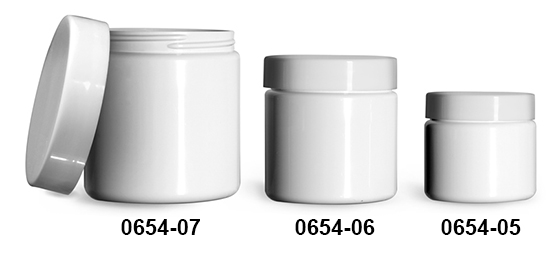 Plastic Jars, White PET (PCR) Straight Sided Jars w/ Smooth White PE Lined Caps