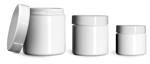 PET (PCR) Plastic Jars, White Straight Sided Jars w/ Smooth White PE Lined Caps