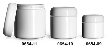 Plastic Jars, White PET (PCR) Straight Sided Jars w/ White PE Lined Dome Caps