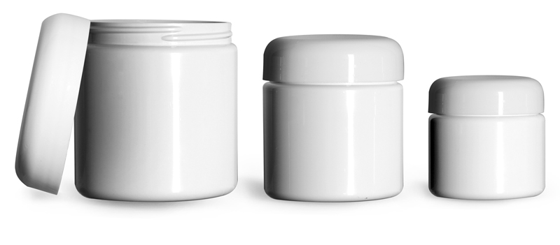 8 oz  Plastic Jars, White PET (PCR) Straight Sided Jars w/ White PE Lined Dome Caps