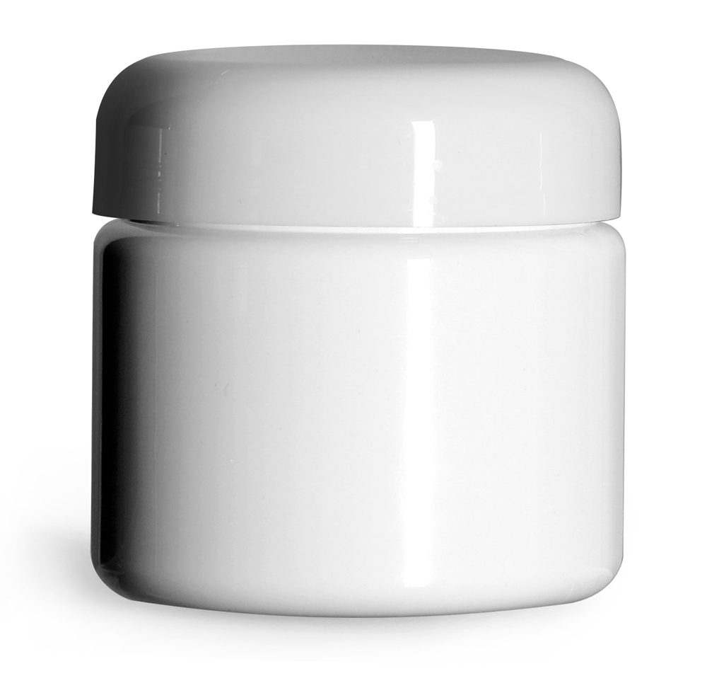 2 oz White PET (PCR) Straight Sided Jars w/ White PE Lined Dome Caps