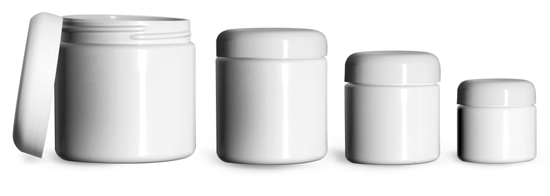 PET (PCR) Plastic Jars, White Straight Sided Jars w/ White PE Lined Dome Caps