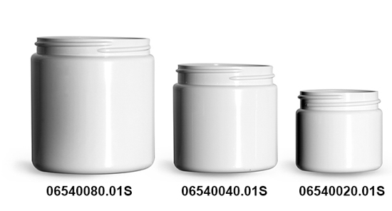 Plastic Jars, White PCR (PET) Straight Sided Jars (Bulk), Caps Not Included