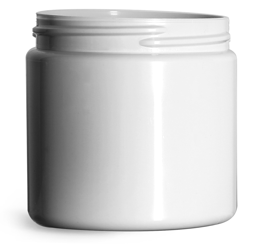 16 oz Plastic Jars, White PCR (PET) Straight Sided Jars (Bulk), Caps Not Included