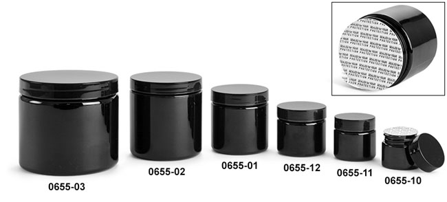 Plastic Jars, Black PET (PCR) Straight Sided Jars w/ Black PS22 Lined Caps