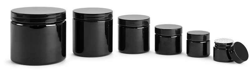 PET (PCR) Plastic Jars, Black Straight Sided Jars w/ Black PS22 Lined Caps