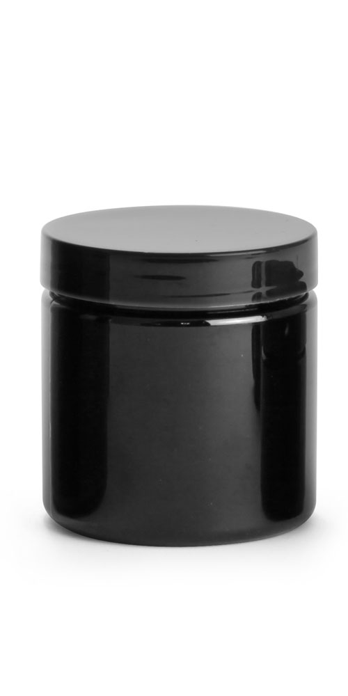 Black PET Straight Sided PCR Jars w/ Black PS22 Lined Caps