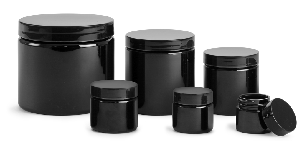 PET (PCR) Plastic Jars, Black Straight Sided Jars w/ Black Smooth F217 Lined Caps