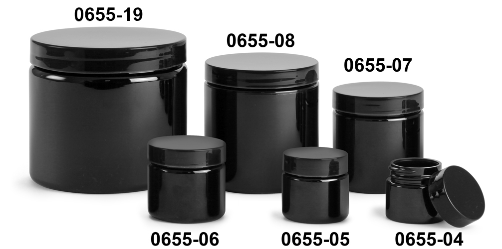 Plastic Jars, Black PET (PCR) Straight Sided Jars w/ Black Smooth PE Lined Caps