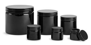 Black PET (PCR) Jars w/ Black Smooth F217 Lined Caps
