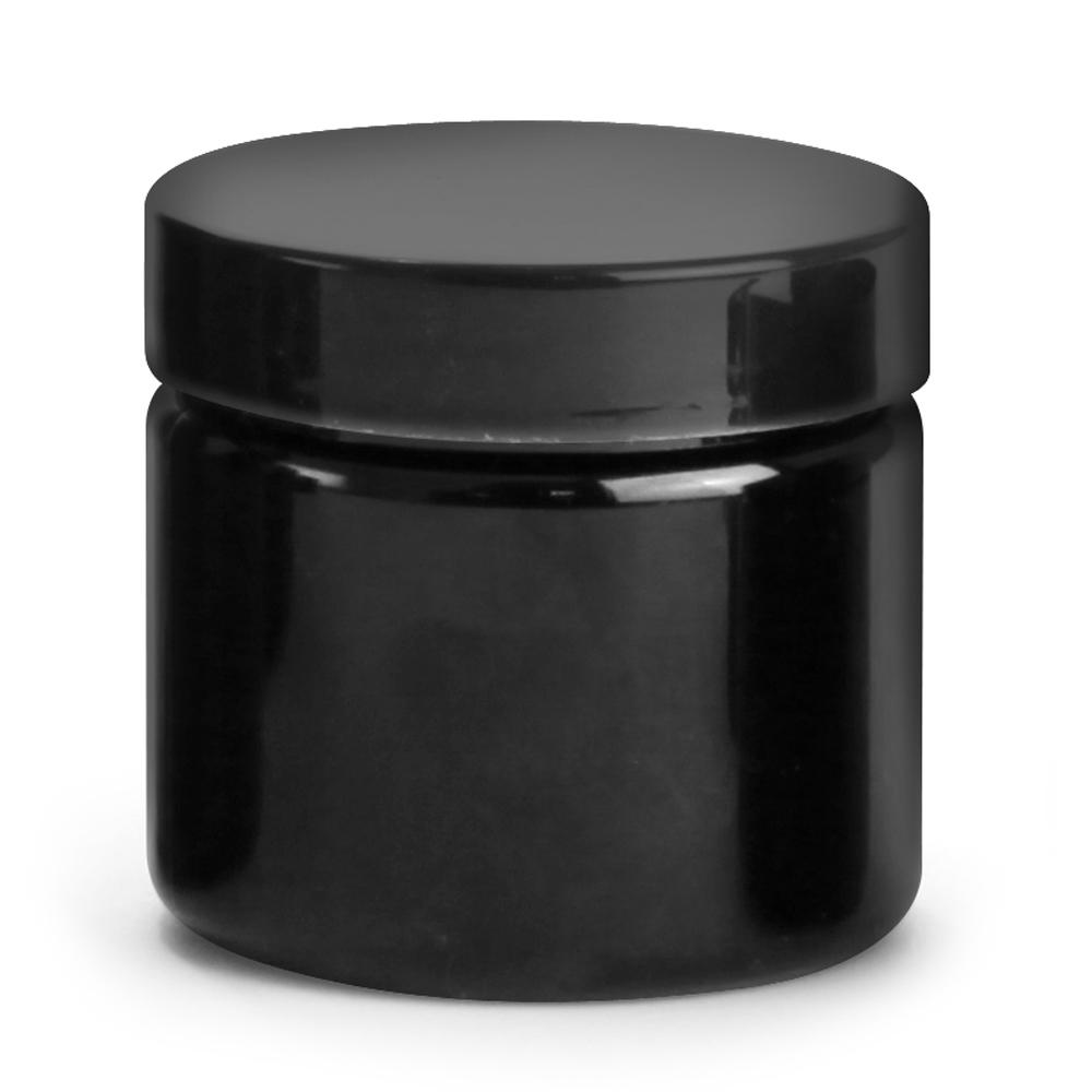 2 oz Black PET PCR Jars w/ Black Smooth PE Lined Caps