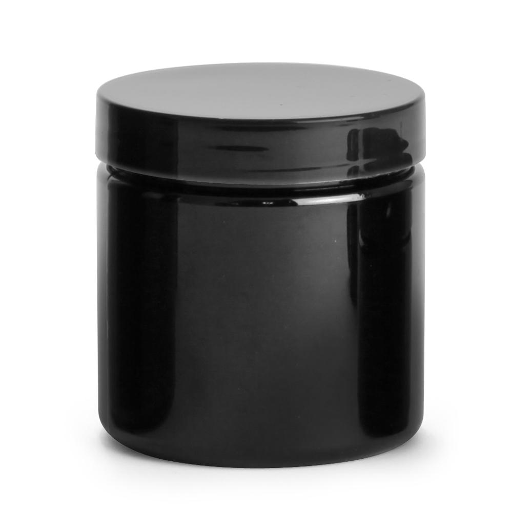 4 oz Black PET PCR Jars w/ Black Smooth PE Lined Caps