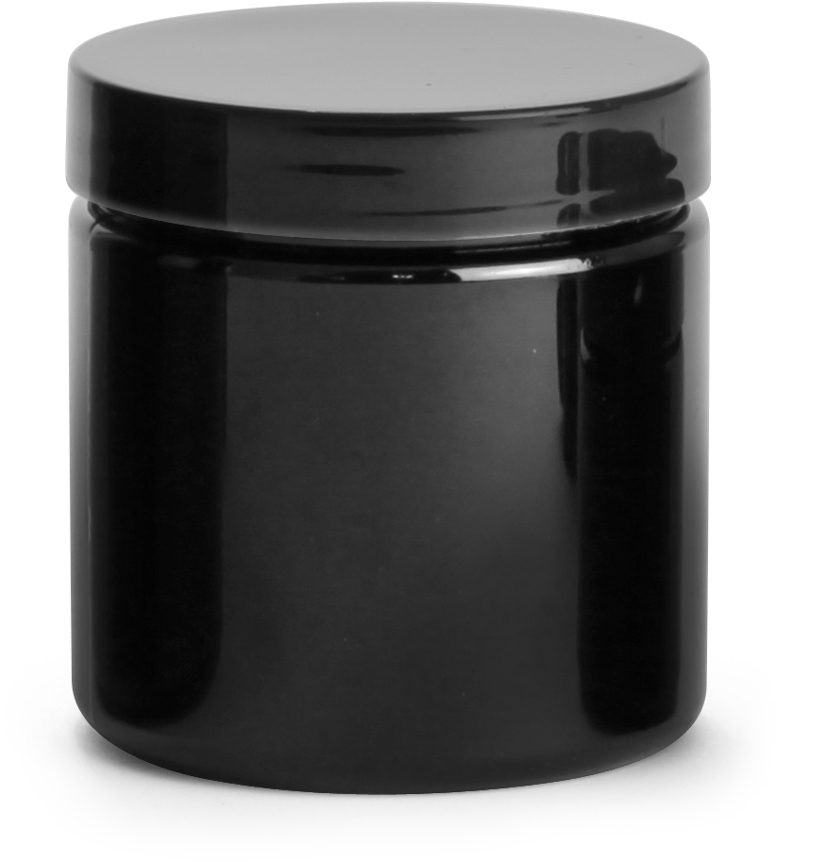 Black PET PCR Jars w/ Black Smooth PE Lined Caps