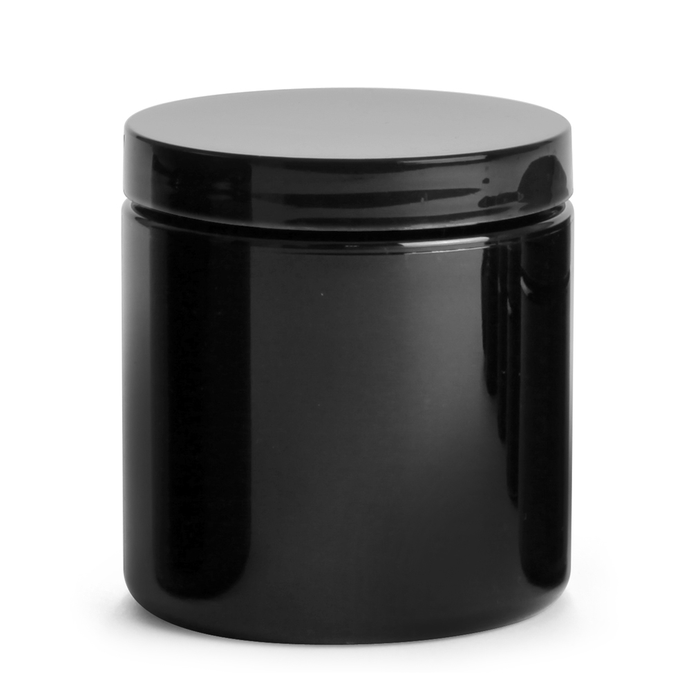 8 oz Black PET PCR Jars w/ Black Smooth PE Lined Caps