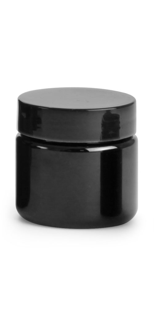 1 oz Black PET (PCR) Straight Sided Jars w/ Black PS22 Lined Caps