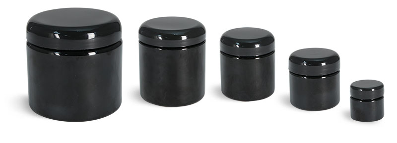 PET (PCR) Plastic Jars, Black Straight Sided Jars w/ Black Lined Dome Caps