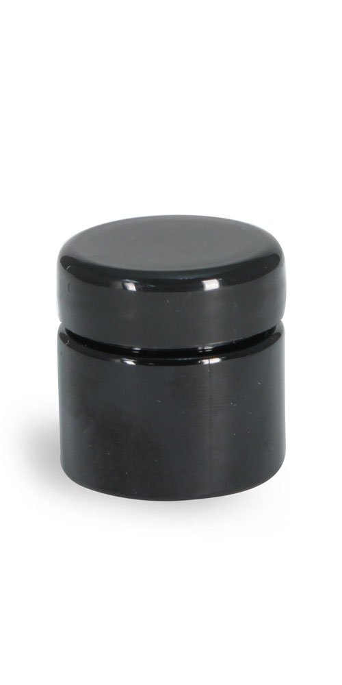 1/2 oz Plastic Jars, Black PET (PCR) Straight Sided Jars w/ Black Lined Dome Caps