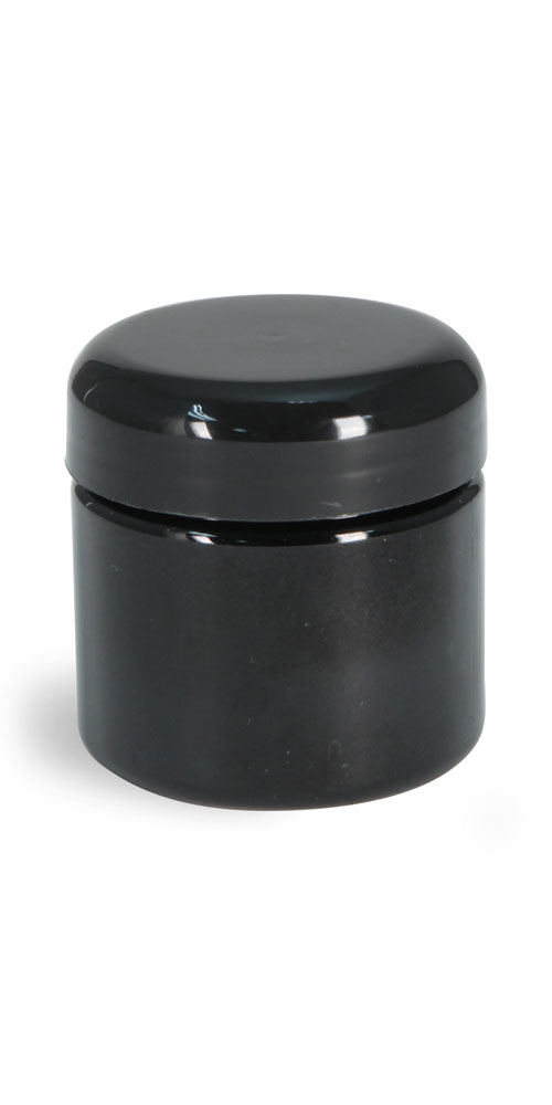 2 oz Plastic Jars, Black PET (PCR) Straight Sided Jars w/ Black Lined Dome Caps