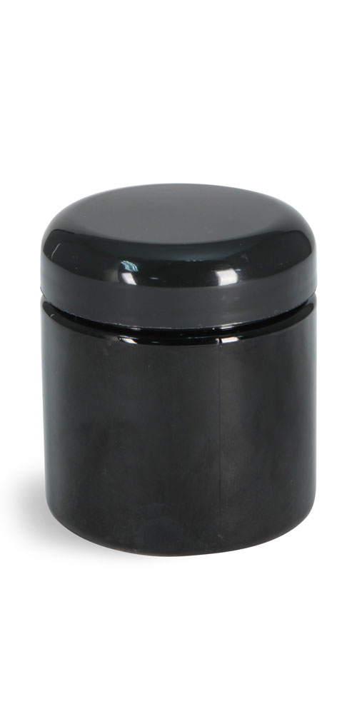 4 oz Plastic Jars, Black PET (PCR) Straight Sided Jars w/ Black Lined Dome Caps