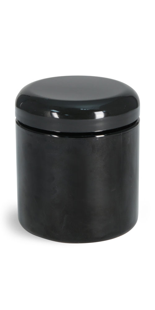 8 oz  Plastic Jars, Black PET (PCR) Straight Sided Jars w/ Black Lined Dome Caps