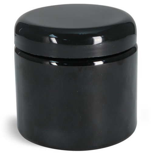 Plastic Jars, Black PET (PCR) Straight Sided Jars w/ Black Lined Dome Caps