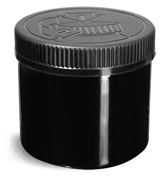 PET (PCR) Plastic Jars, Black Straight Sided Jars w/ Black PE (F217) Lined Child Resistant Caps