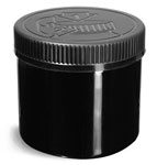 Black PCR PET Straight Sided Jar w/ Black PE (F217) Lined Child Resistant Caps