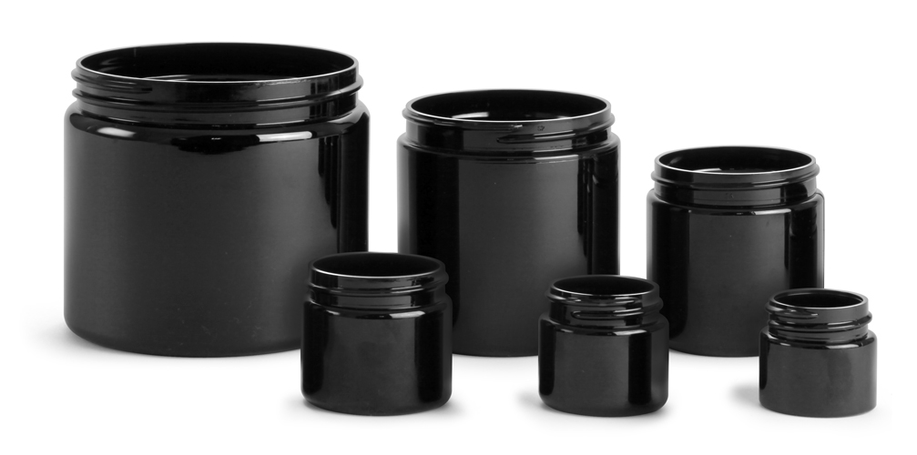 16 oz   Black PET Straight Sided PCR Jars