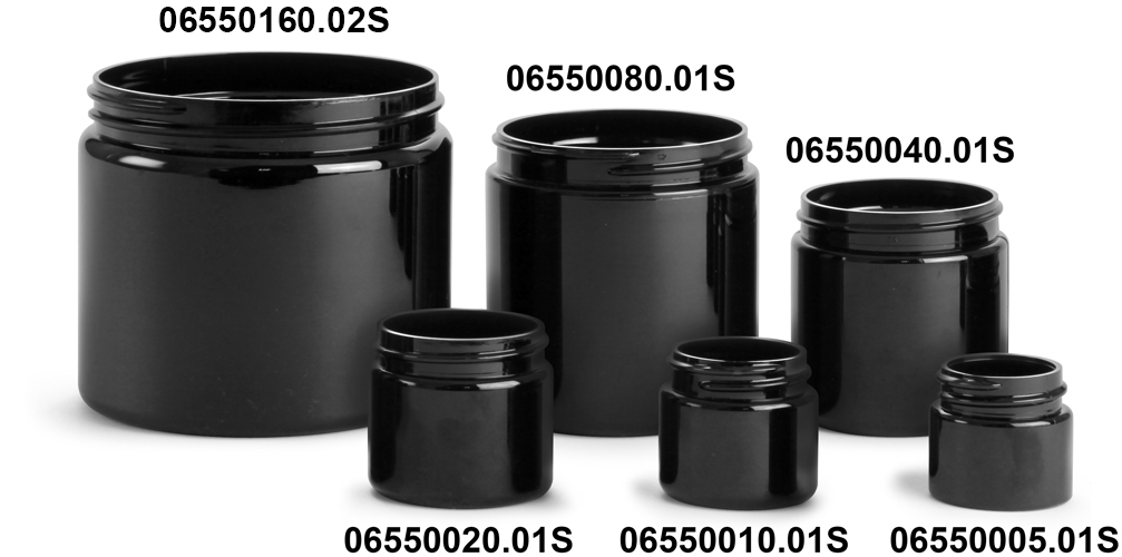 Plastic Jars, Black PET Straight Sided PCR Jars