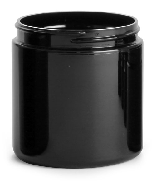 8 oz Black PET Straight Sided PCR Jars