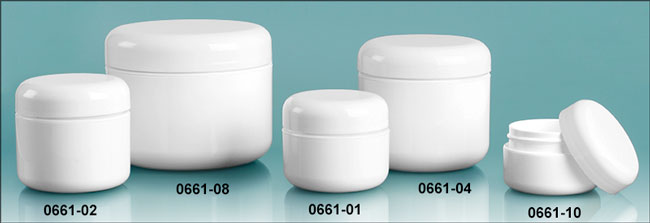Plastic Jars, White Polypropylene Double Wall Radius Jars w/ White Lined Dome Caps