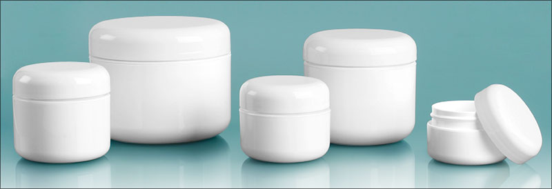 Polypropylene Plastic Jars, White Double Wall Radius Jars w/ White Lined Dome Caps'