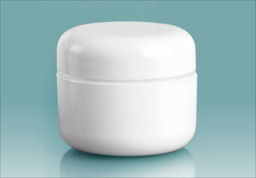 White Polypropylene Double Wall Radius Jars w/ White Lined Dome Caps