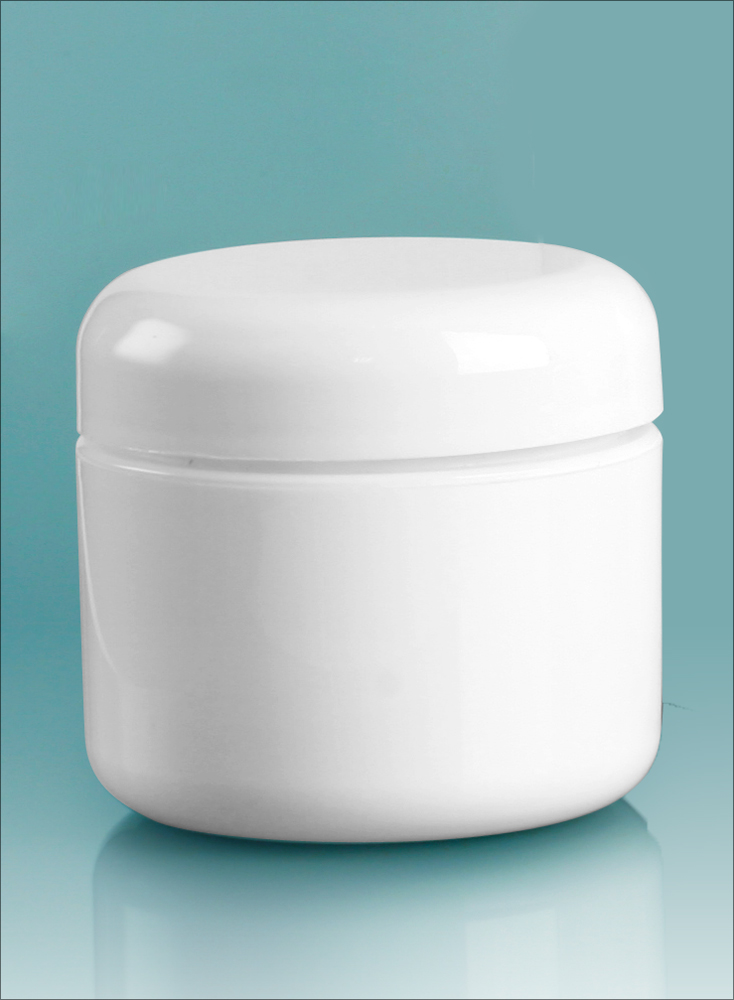 2 oz White Polypropylene Double Wall Radius Jars w/ White Lined Dome Caps