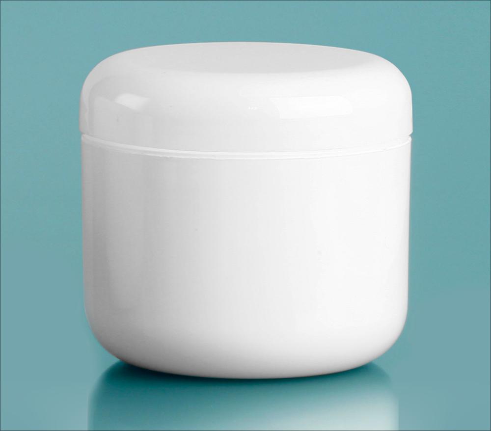 4 oz White Polypropylene Double Wall Radius Jars w/ White Lined Dome Caps