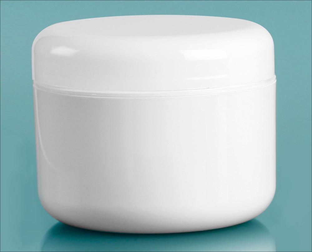 8 oz White Polypropylene Double Wall Radius Jars w/ White Lined Dome Caps