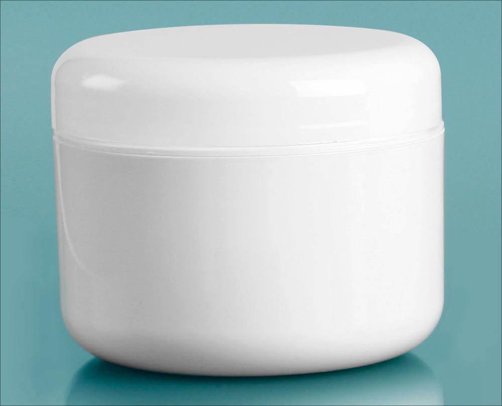 White Polypropylene Double Wall Radius Jars w/ White Lined Dome Caps