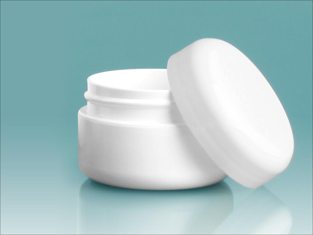 1/2 oz White Polypropylene Double Wall Radius Jars w/ White Lined Dome Caps