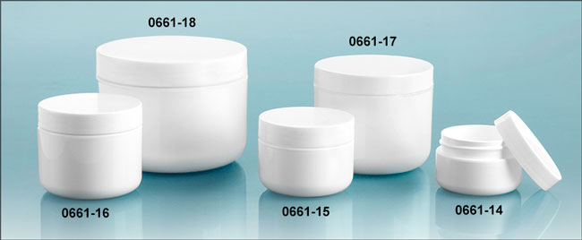 Plastic Jars, White Polypropylene Double Wall Radius Jars w/ Smooth White Lined Caps