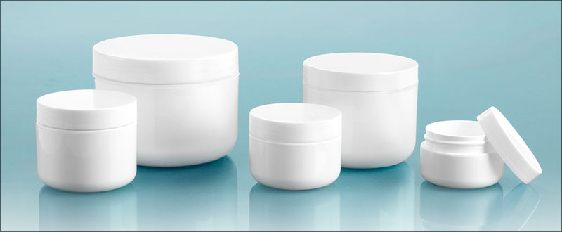 Polypropylene Plastic Jars, White Double Wall Radius Jars w/ White Polypro Smooth PE Lined Caps