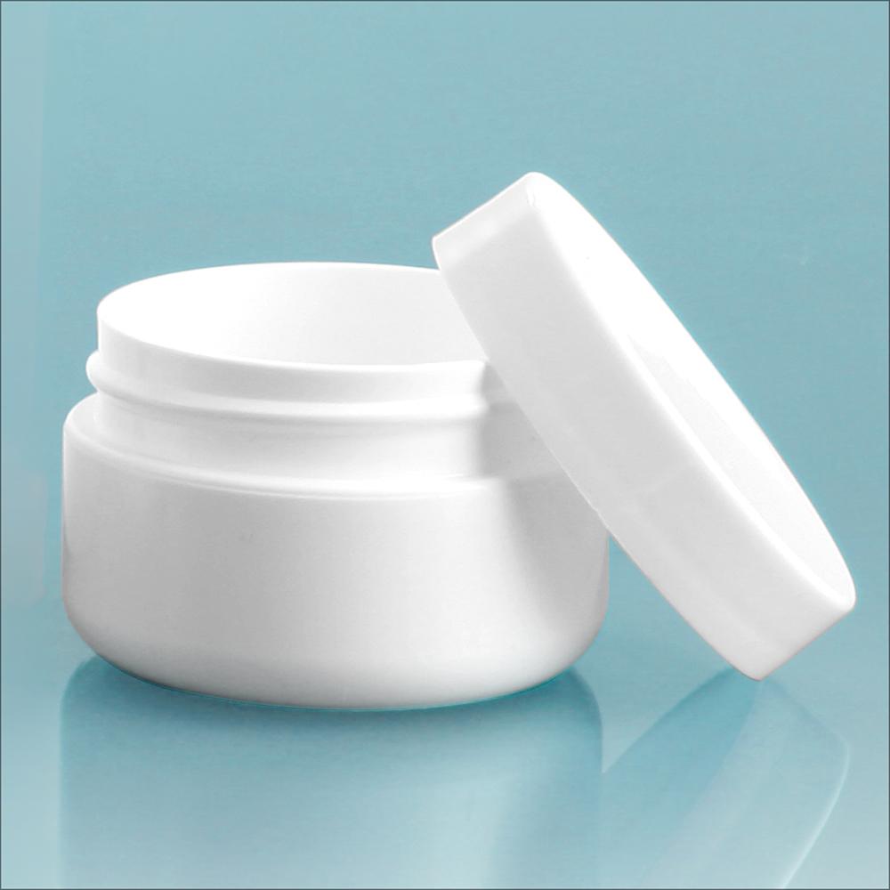 1/2 oz White Polypro Double Wall Radius Jars w/ White Polypro Smooth PE Lined Caps