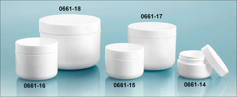 Plastic Jars, White Polypro Double Wall Radius Jars w/ Smooth White Lined Caps