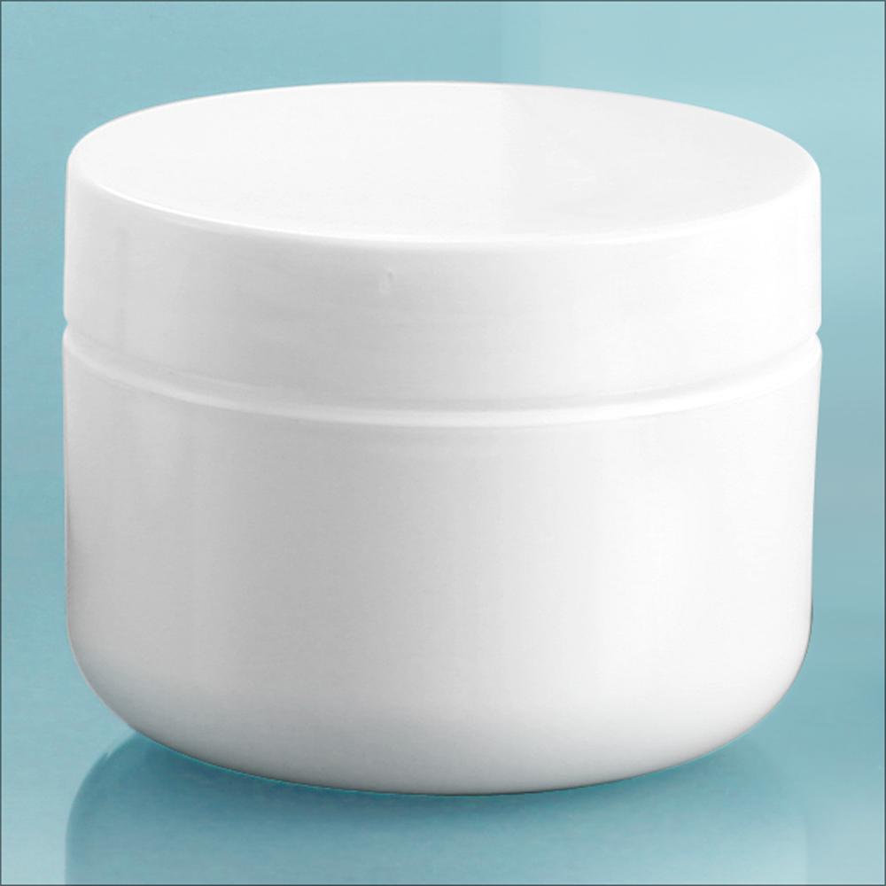 1 oz White Polypro Double Wall Radius Jars w/ White Polypro Smooth PE Lined Caps