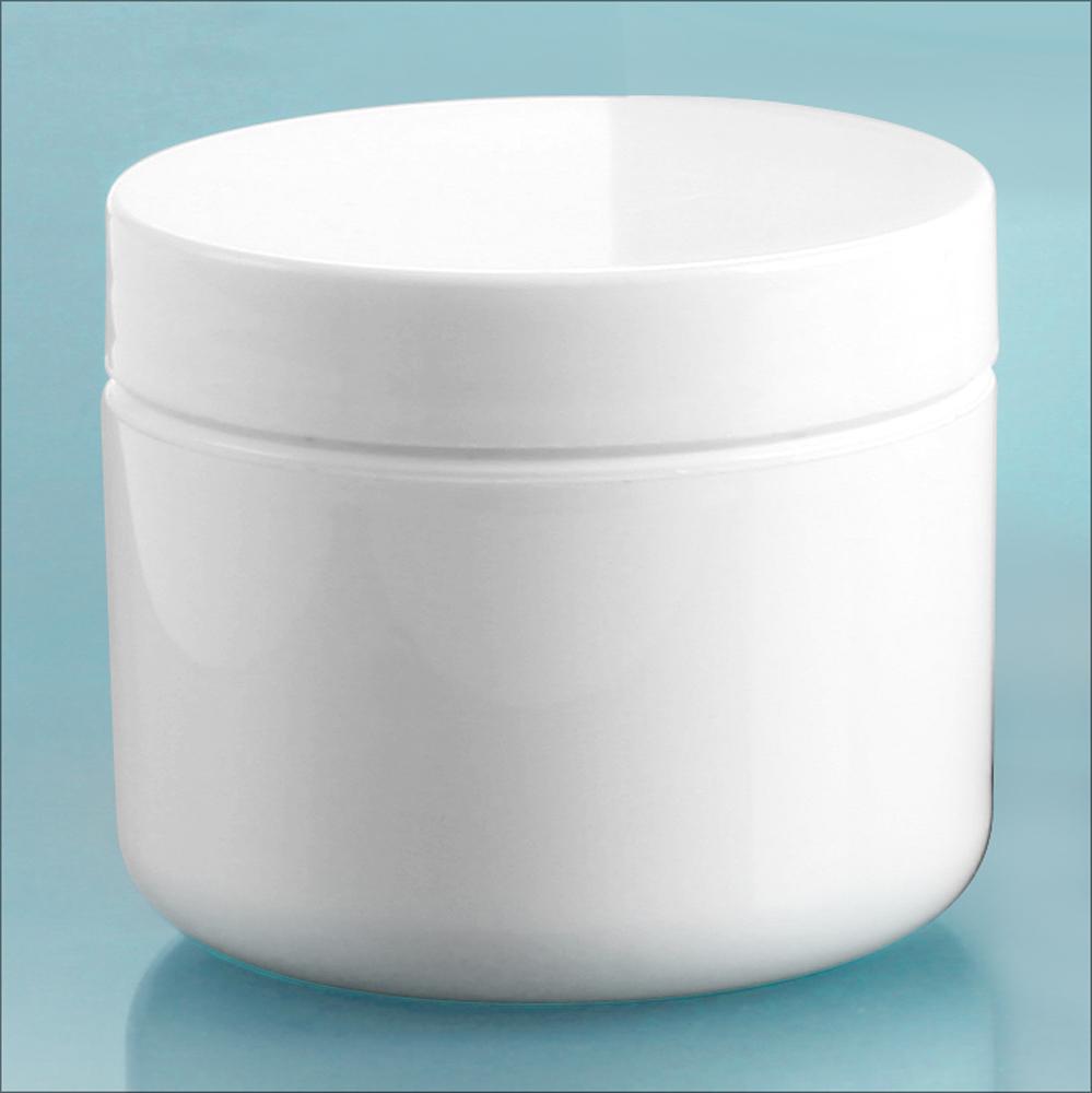 White Polypro Double Wall Radius Jars w/ White Polypro Smooth PE Lined Caps