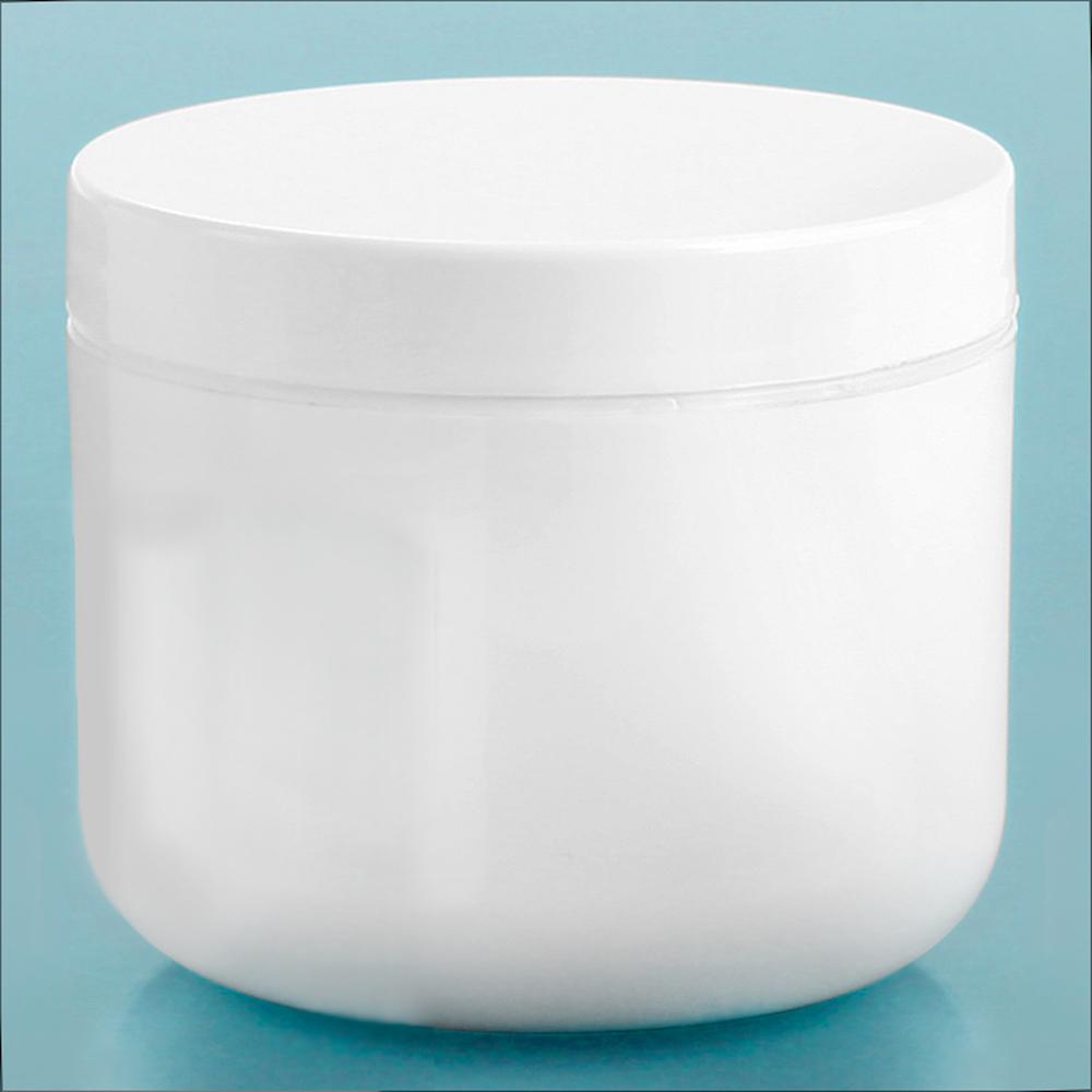 4 oz White Polypro Double Wall Radius Jars w/ White Polypro Smooth PE Lined Caps