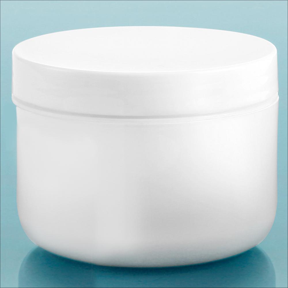 8 oz White Polypro Double Wall Radius Jars w/ White Polypro Smooth PE Lined Caps