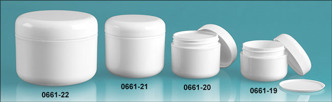 Plastic Jars, White Polypropylene Double Wall Radius Jars w/ White Lined Dome Caps & Cosmetic Disc Liners