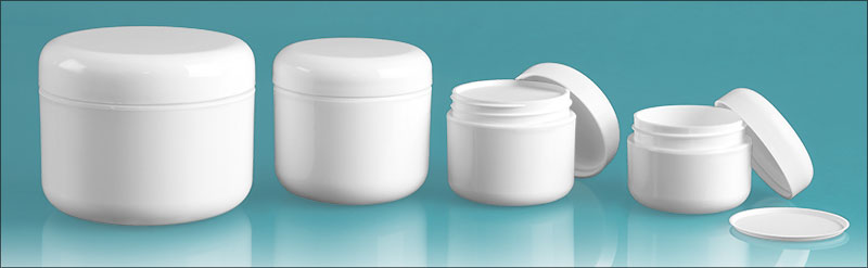 Polypropylene Plastic Jars, White Double Wall Radius Jars w/ White Lined Dome Caps & Cosmetic Disc Liners