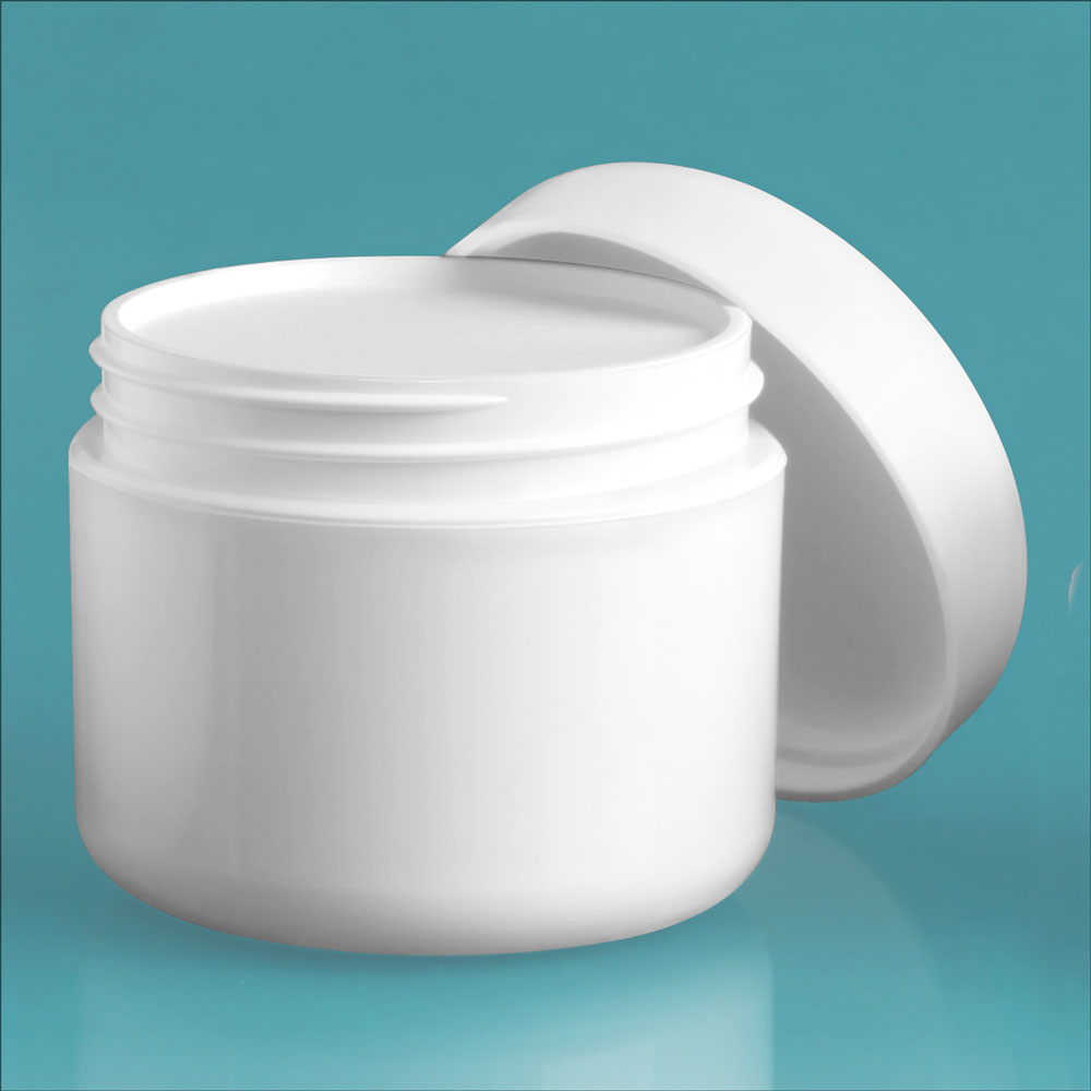 2 oz White Polypro Double Wall Radius Jars w/ White Lined Dome Caps & Cosmetic Disc Liners